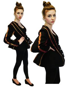 Fitted Jacket with low cut neckline and exaggerated hips with piped seaming.    Paired with glossy look leggings