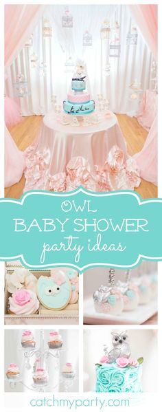 Don't miss this gorgeous owl themed Baby Shower. The owl cookies are adorable!!