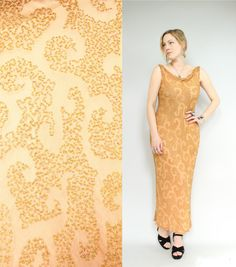 20s/30s Style  Heavily Beaded  Sheer Peach Silk  by starlingdarlin, $82.00