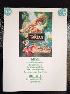 Tarzan Menu - Tarzan Movie Night - Disney Movie Night - Family Movie Night