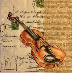 3 Decoupage Napkins Violin Letter Music 13 x 13 Decoupage Vintage, Decoupage Paper, Vintage Labels, Vintage Cards, Violin Art, Music Collage, Inspiration Artistique, Art Carte, Music Illustration
