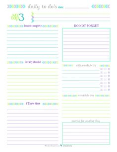 Printable Daily To Do List for those days when you don't need a planner just a list.