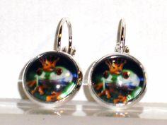 Ohrringe Frosch Tiere Damen Hänger Leverback Glas Ohrschmuck Modeschmuck