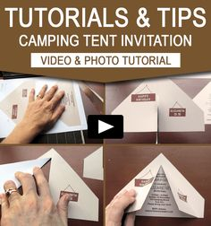 Tent Invitation – DIY Tutorial This tutorial will show you how easy it is to assemble my Camping Tent Invitation - send out your invitations today!Invitation Invitation or The Invitation may refer to: Camping Party Invitations, Diy Invitations, Birthday Party Invitations, Birthday Party Themes, Birthday Ideas, 9th Birthday, Invitation Ideas, Sleepover Invitations, Birthday Nails