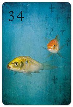Mondnacht Lenormand Karte 34: Fische