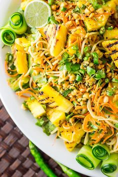 Thai noodle salad with grilled pineapple (vegan and gluten free).