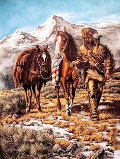 """""""Crossing The High Country"""" Original Oil on Linen -western art John Petersons western and mountain man art - Western, Native American & Mountain Man Art by John Peterson"""