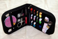 Vellostar compact sewing kit for home, travel and emergency, high quality zippered canvas case includes all.