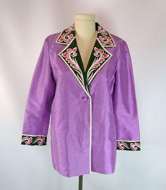 Bob Mackie Wearable Art Purple Embroidered Shimmering Silk Jacket S QVC NWT  #BobMackie #BasicJacket