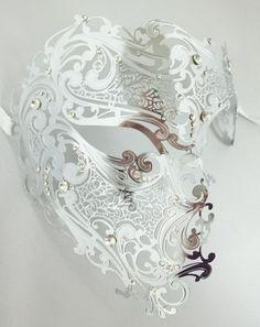 Silver Phantom Laser Cut Venetian Mask Masquerade Metal Men Skull Filigree #mgmb