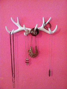 Faux Antler Deer Rack White Jewelry Holder Scarf Holder Mug Holder Antique White Antlers Large Antler Wall Taxidermy Man Cave Gold Mint