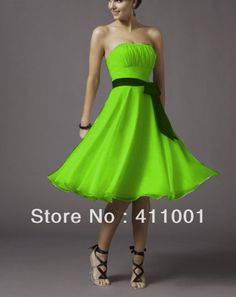 2013 Free Shipping Lime Green A-line Knee-Length Chiffon Wedding Bridal Gowns Party Dress in Stock All Sizes on AliExpress.com. $19.99