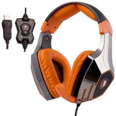 [USD39.46] [EUR35.72] [GBP27.82] SADES A60 Aluminum USB 7.1 Surround Sound Stereo Gaming Headset with Mic & Vibration & Noise-Canceling & Volume Control