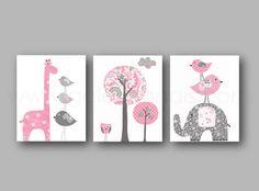 Elephant nursery art giraffe nursery wall art Baby Girl Nursery Decor tree bird Kids wall art pink and gray nursery - #graypinknursery