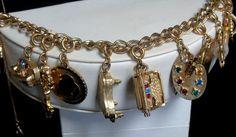 Vintage Monet Sign 13 Charms INCL Mechanical Charms Safety Chain Charm Bracelet  #Money #MonetCharmsMechanicalCharmsBracelet