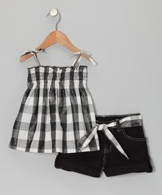 Take a look at this Black Plaid Swing Top & Shorts - Infant & Girls by Longstreet on #zulily today!