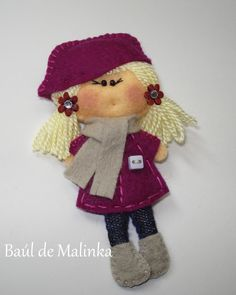 Felt brooch Matilda Purple Autumn, Felt doll, Fabric Brooch, Art Brooch, Wearable Art Jewelry, Autumn doll brooch,. €15.00, via Etsy.