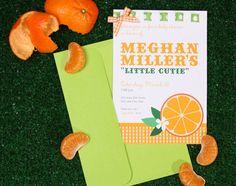 Orange theme baby shower invite from Chickabug.com