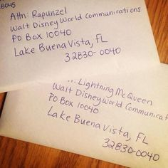 If you write a letter to your child's favorite Disney character they will right back and send an autographed picture. This is the address.-- that's adorable!