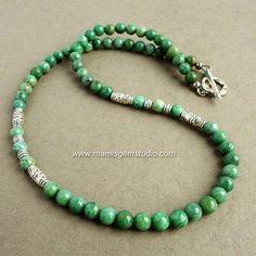 African Green Jade - Mens Beaded Natural Stone Necklace - Handmade | Mamis_Gem_Studio - Jewelry on ArtFire