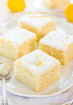 An easy buttermilk cake with big lemon flavor! Soft, fluffy, and foolproof if you like puckering up! This is the easiest from-scratch lemon cake EVER! Lemon Desserts, Lemon Recipes, Just Desserts, Delicious Desserts, Cake Recipes, Dessert Recipes, Bread Recipes, Yummy Treats, Sweet Treats