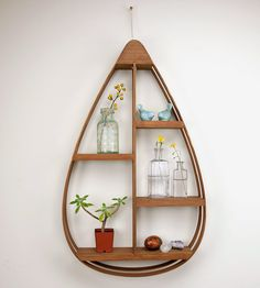 Wood Teardrop Shelf, 4 Shelves by The Wavertree Company on Scoutmob