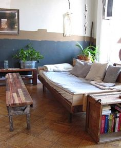 I like the reclaimed lumber that is used to make the coffee table and end table.  Very rustic look, love it.