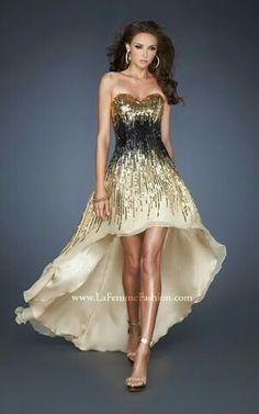 Vestido dorado con negro