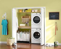 Laundry Closet - stacked w/d to one side; table next to machines for pre-treating/folding; high shelves for storage