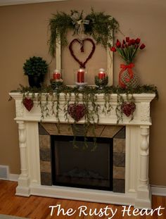 Today we wanted to share a Valentine's Day Mantel! Normally I don't decorate much for Valentine's Day, but I was home from work today so I. My Funny Valentine, Valentines Day Party, Valentine Day Love, Valentines Day Decorations, Valentine Day Crafts, Valentine Ideas, Valentine Stuff, Valentine Desserts, Valentine Wreath