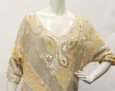 b2cefff0 80s Vintage Dress- Women's, Cream/Yellow, All Over Sequin, Collarless,  Gown, Side Slits, Size M - Edit Listing - Etsy