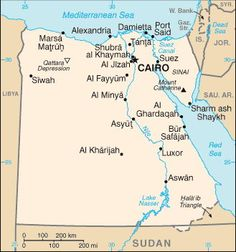 Cruise Destination Maps of Countries Surrounding the Red Sea and in SW Asia: Egypt Map