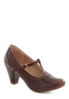 Gallery Opener Heel in Chocolate by Chelsea Crew - Mid, Faux Leather, Brown, Solid, Vintage Inspired, 40s, Good, T-Strap, Work