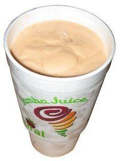 of peach juice 4 oz. of soymilk cup of pineapple sherbet cup of raspberry sherbet cup of orange sherbet cup of frozen mangoes and cup of ice. Jamba Juice Menu, Juice Smoothie, Smoothie Drinks, Fruit Smoothies, Smoothie Recipes, Easy Smoothies, Jumba Juice, Bear Drink, Yummy Drinks