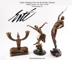 Erte Bronzes, and more  artworks by Erte in the sale  Estate Antiques Fine Art & Jewelry Auction Sunday January 31st, 2016 @ 12 PM Preview:  Saturday, 1/30 1-6 PM   Sunday 1/31 @ 10 AM  www.BurchardGalleries.com