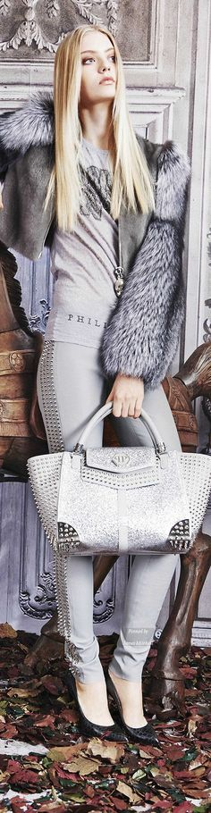 Gray mink and silver fox complement each other nicely. Very stylish. Philipp Plein collection Pre Fall 2015