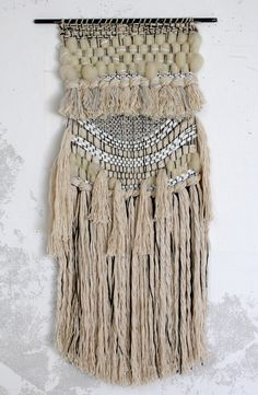 Wild Salt Spirit: White Magic Weaving by All Roads part of the Supermoon collection for Urban Outfitters, Malibu Country Mart. Weaving Textiles, Weaving Art, Tapestry Weaving, Loom Weaving, Hand Weaving, Fibre Textile, Textile Art, Weaving Wall Hanging, Wall Hangings