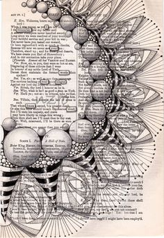 Zentangle Drawings, Mandala Drawing, Zentangle Patterns, Doodle Drawings, Zentangles, Doodle Zen, Old Book Crafts, Book Page Art, Poetry Art