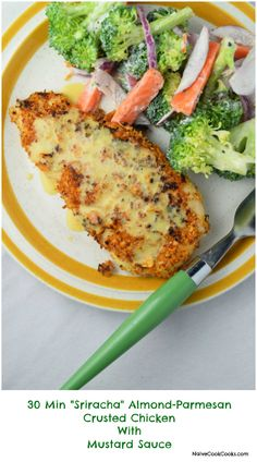 "30 Mins ""Sriracha""Almond-Parmesan Crusted Chicken With Mustard Sauce is the perfect easy yet elegant & totally healthy dinner!!NaiveCookCooks.com#dinner #chicken #almondcrustedchicken"