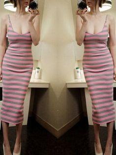 2015 Night Club Wear Pink Sexy Wrap Striped Pattern Strap Dress