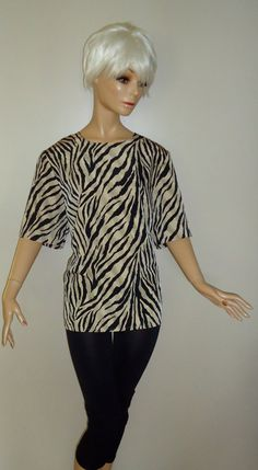 Animal Print Blouse Vintage 80s Style Short Sleeve by thineintime