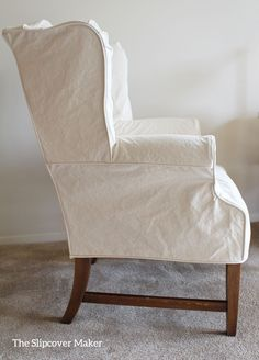 Simple lines and a tailored fit for this natural duck wingback slipcover. Wingback Chair Slipcovers, Reupholster Furniture, Furniture Slipcovers, Upholstered Chairs, New Furniture, Drop Cloth Slipcover, Custom Slipcovers, Swivel Chair, Rocking Chair Bois