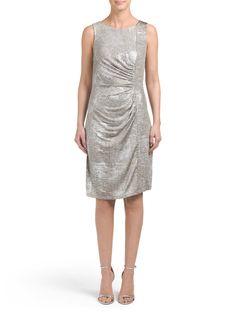 Side Ruched Metallic Dress