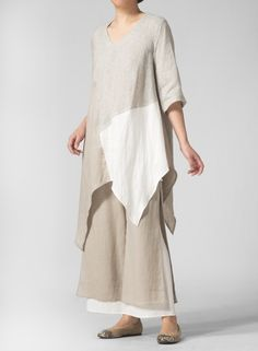 White-and-natural linen top over white-and natural-linen pants - perfect : Missy Clothing