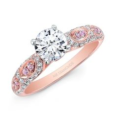14K Rose and White White and Pink Diamond Engagement Ring - 14K Rose and White White and Pink Diamond Engagement Ring