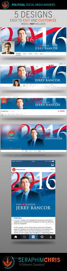 Political Election Social Media Banner Templates Need a political template for your social media blitz? This colorful clean yet modern design should do the job.  This file can be used for multiple types of events and is easy to use and well organized. If you want the best presentation for your event, then you've come to the right place. Download today, the investment will be well worth it!