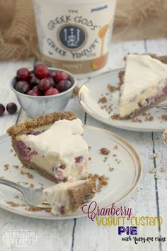 Cranberry Yogurt Custard Pie with Nutty-Oat Crust #Thanksgiving #Pie #GreekGodsPies ft. @GreekGodsYogurt
