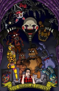 marshallartscomics: Decided to whip up this poster in honour of my new favourite horror game series; Five Nights at Freddy's!Also, I have mad respect for Markiplier! He seems like a really cool guy. Hope all you fans like this :)http://marshall-arts-comics.deviantart.com/https://www.facebook.com/MarshallArtsComics