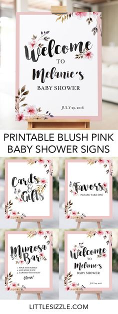 Printable baby shower table signs for girls by LittleSizzle. These gorgeous blush pink floral baby shower signs are perfect for any baby girl shower. The pink and floral decor pack includes a personalized welcome sign, cards and gifts table sign, favors s Baby Shower Table Centerpieces, Girl Baby Shower Decorations, Baby Shower Themes, Shower Ideas, Floral Centerpieces, Baby Decor, Floral Arrangements, Pink Decorations, Free Baby Shower Printables