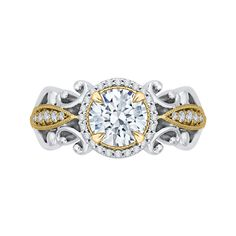 18K Two-Tone Gold 1/5 Ct Diamond Carizza Semi Mount Engagement Ring to fit Round Center - Shah Luxury